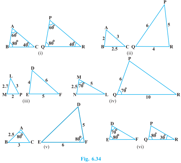 Triangles Exercise 6.3 Question No. 1