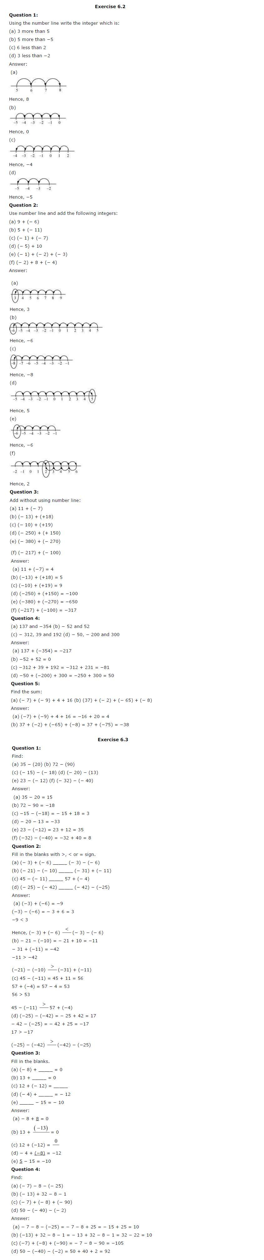 NCERT Solutions for Class 6th Maths Chapter 6 - Integers