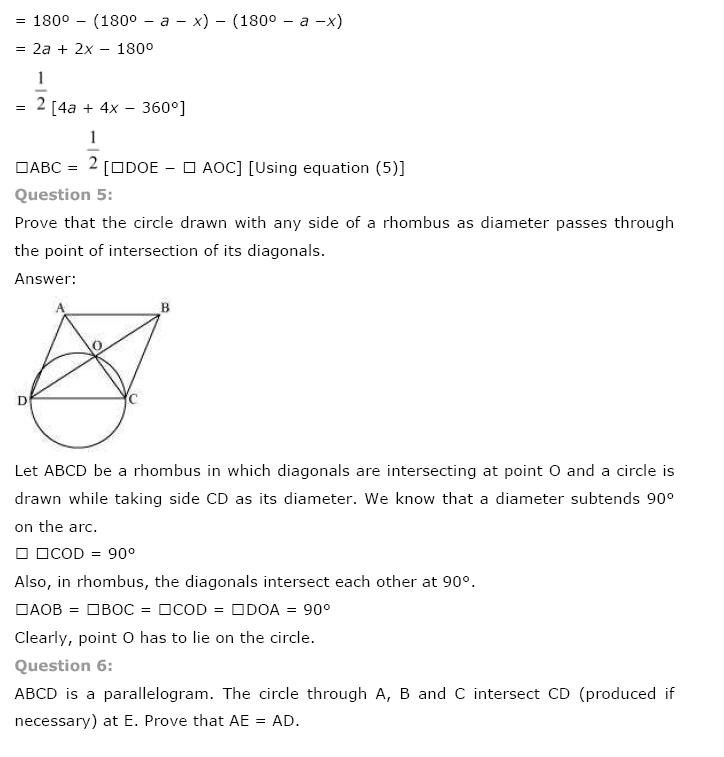 NCERT Solutions For Class 9th Maths Chapter 10 : Circles 4