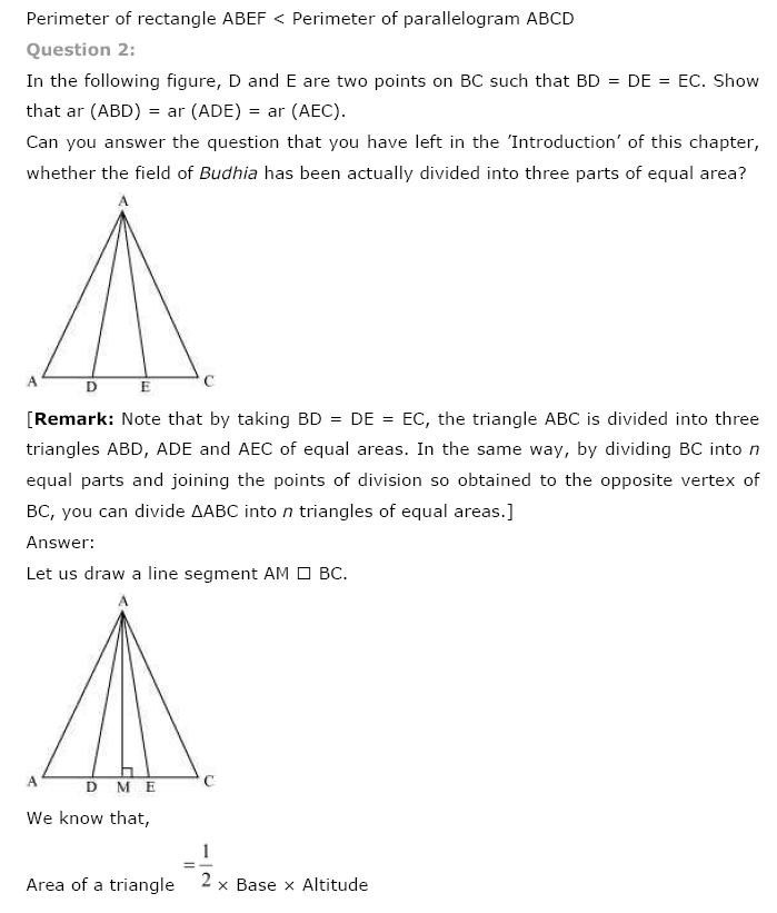 NCERT Solutions For Class 9th Maths Chapter 9 : Areas of Parallelograms and Triangles 2