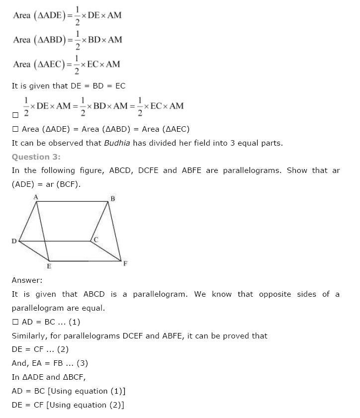 NCERT Solutions For Class 9th Maths Chapter 9 : Areas of Parallelograms and Triangles 3