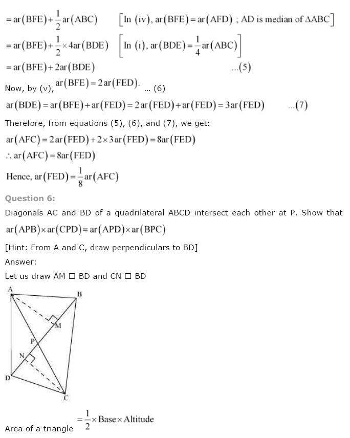 NCERT Solutions For Class 9th Maths Chapter 9 : Areas of Parallelograms and Triangles 0