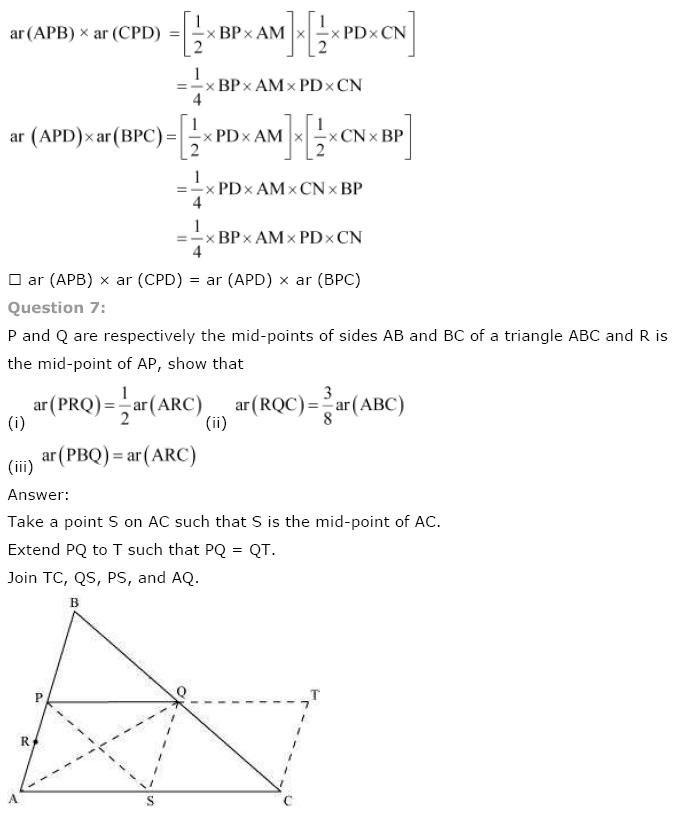 NCERT Solutions For Class 9th Maths Chapter 9 : Areas of Parallelograms and Triangles misc