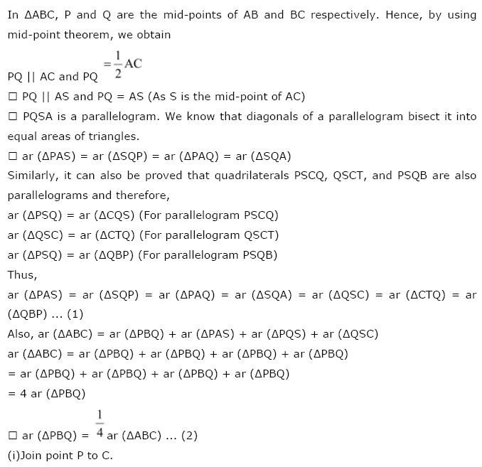 NCERT Solutions For Class 9th Maths Chapter 9 : Areas of Parallelograms and Triangles all