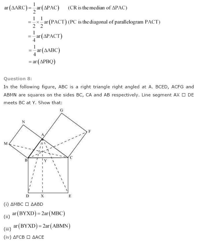 NCERT Solutions For Class 9th Maths Chapter 9 : Areas of Parallelograms and Triangles Q 8