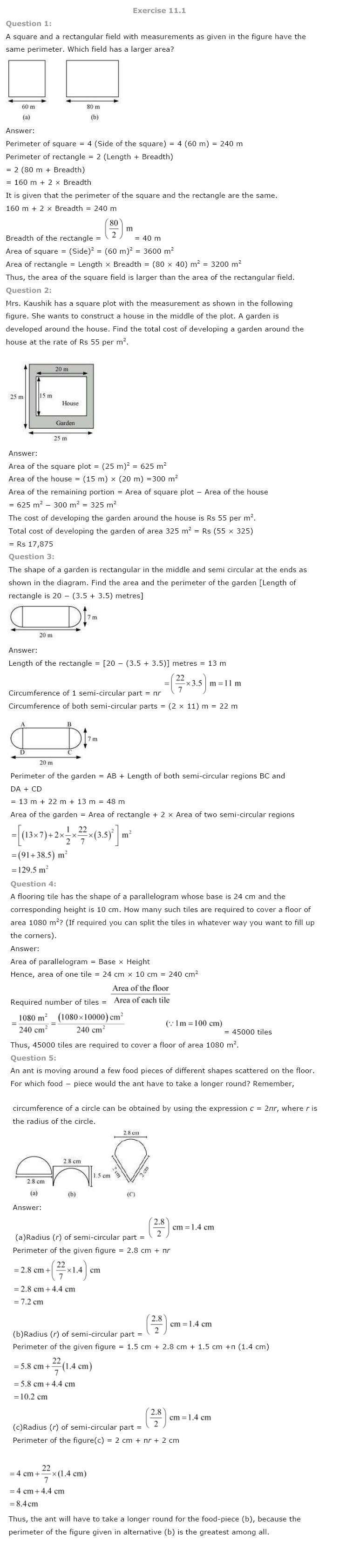 Class 8 NCERT Maths Solutions chapter 11 Mensuration 1