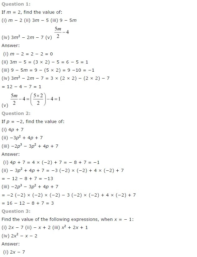 NCERT Solutions for Class 7th Maths Chapter 12 – Algebraic Expressions
